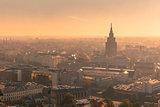Aerial view backlit of Old Town, Riga, Latvia