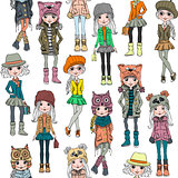 Vector seamless pattern with cute hipster girl