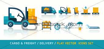 Freight cargo delivery transportation and logistic flat icons