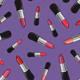 Seamless pattern with beauty lipsticks.