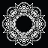 Mehndi lace, Indian Henna white tattoo round design or pattern