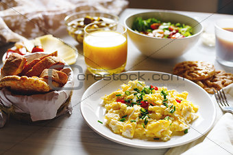 Breakfast Table with Scrambled Eggs