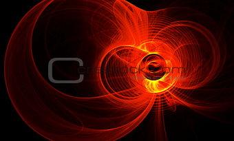 Abstract figure from round, red waves and plasma. Fractal art graphics