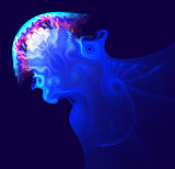 Fantastic fractal as an abstract spray and spray reminiscent of blue jellyfish in the ocean. Fractal art graphics