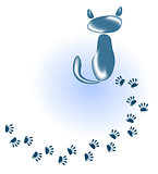 Cat of stones and glass and his footprints. EPS10 vector illustration