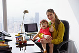 Portrait Mother Business Woman Playing Child At Work