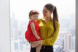 Portrait Woman In Career With Little Baby In Office
