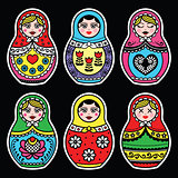Matryoshka, Russian doll colorful icons set on black