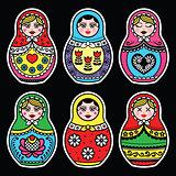 Matryoshka, Russian doll colorful icons set on black