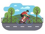 Cyclist on bike path