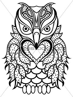 Amusing beaky owl black outline