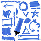 Blue Marker. Set of Graphic Signs. Arrows, Circles