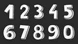 White vector numbers isolated on black background