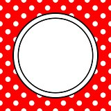 Vector frame with polka dots on red background
