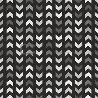 Tile vector pattern with grey and black arrows on black background