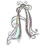 Zentangle monogram A. Doodle colorful alphabet character with patterns and zentangle ornamet