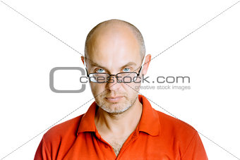 man in a red T-shirt. Studio. isolated