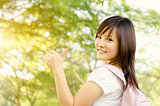 Asian girl student thumb up