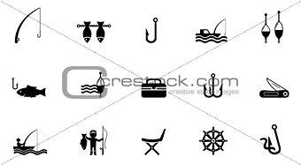 fishing isolated icons