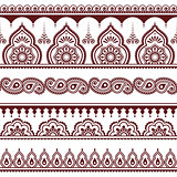 Mehndi, Indian Henna tattoo brown seamless pattern, design elements