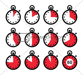 Time, clock, stopwatch red vector icons set