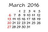 March Year 2016 Calendar Handwritten