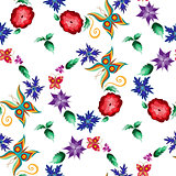 Butterfly Flower Garden Seamless Pattern