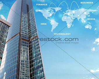 Skyscraper with world map