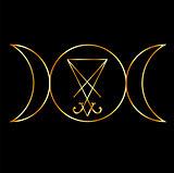 Wiccan symbol, Triple Goddess with sigil of Lucifer