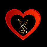 Sigil of Lucifer in red heart