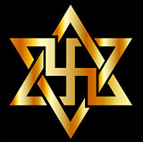 The Raelians symbol in gold