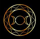 Gold Wiccan symbol Triple Goddess