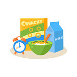 Pupil Breakfast. Education Design Vector Illustration