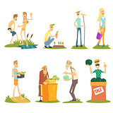 Summer Farm Activities. Vector Set