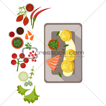 Grilled Salmon on Plate. Vector Illustration