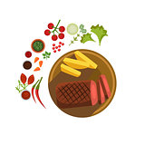 BBQ Steak on Plate. Vector Illustration