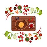 Barbeque Steak on Plate. Vector Illustration