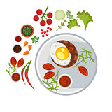 Grilled Steak with an Egg on Plate. Vector Illustration