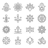 Vector yoga icons and line badges, graphic design elements
