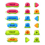 Fruitey Cartoon Buttons, Vector Set