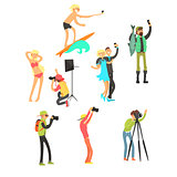 Creative People Posing while Photographer Taking Photos. Vector Illustration Set