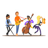 Musicians on the Stage. Vector Illustration