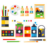 Studio drawing tools to the creative process flat icons set isolated vector