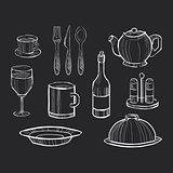 Hand drawn set of kitchen utensils on a chalkboard