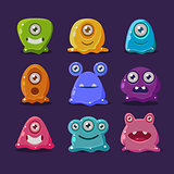 Cute cartoon jelly monsters, vector