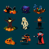 Halloween symbols collection.