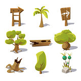 Cartoon nature elements, vector objects on white background