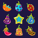 Set Colorful fantasy fruits, vector illustration