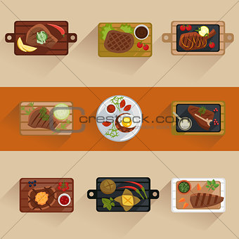 Fish and meat steaks cooking icon flat isolated vector