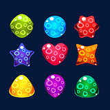 Set of bright jelly figures with bubbles, colorful game elements